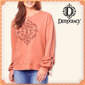 🆕 Embroidered DEMOCRACY Bow Tie Sleeve Tunic NWT